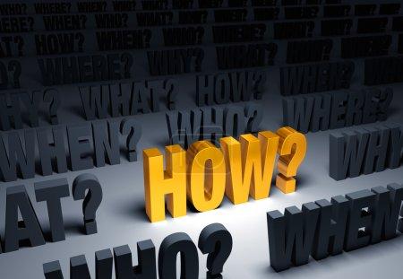 """Photo pour Un projecteur s'allume un brillant, or « comment? » sur un fond sombre rempli de « Who? », « Quoi? », « Quand? », « Où? » et """"pourquoi?"""" - image libre de droit"""