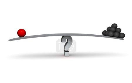Photo pour Une sphère rouge et un empilement de sphères gris foncés s'asseoir aux deux extrémités de la planche grise en équilibre sur un point d'interrogation gris. Isolé sur blanc. - image libre de droit