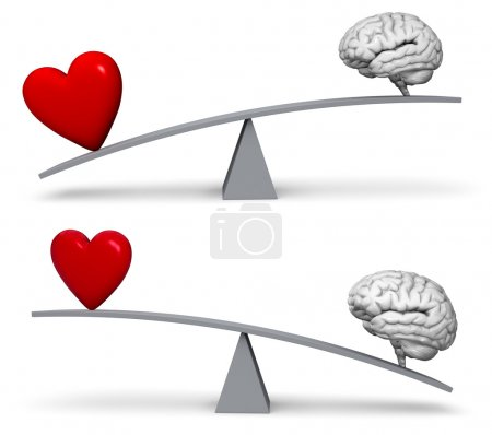Photo for A bright, red heart and gray brain sit on opposite ends of a gray balance board.  In one image, the heart outweighs the brain in the other, the brain outweighs the heart. Isolated on white - Royalty Free Image