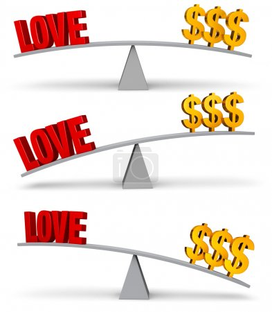 """Photo for A set of three images of a red """"LOVE"""" and a gold dollar signs on opposite ends of a gray balance board in turns outweighing or balancing each other. Isolated on white - Royalty Free Image"""