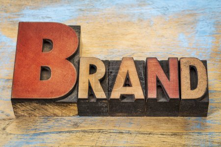 brand word  in wood type