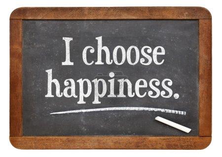Photo for I choose happiness - positive affirmation words  on a vintage slate blackboard - Royalty Free Image