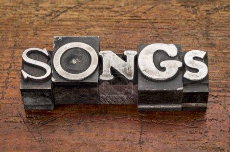 Songs word in metal type
