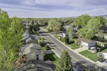 Aerial view of redintial street in Fort Collins, Colorado
