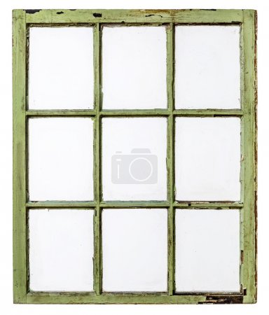 Photo pour Panneau de vintage, grunge, fenêtre à guillotine avec verre sale (9 vitres), isolé sur blanc avec un chemin de coupe - image libre de droit