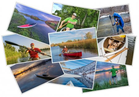 Paddling kayak, canoe and SUP picture set