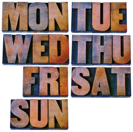 days of week in letterpress wood type
