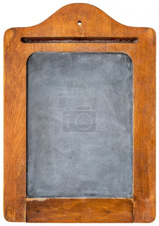 Photo for Small blank vintage slate blackboard in rustic wooden frame - message board - Royalty Free Image
