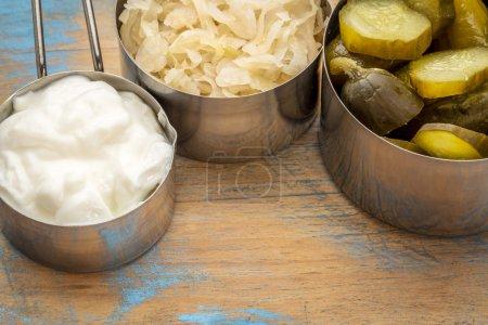 sauerkraut, pickles and yogurt