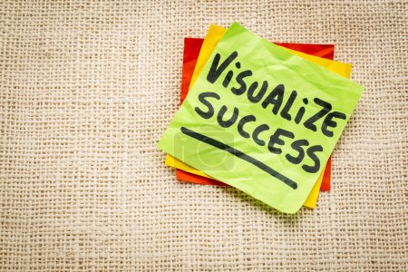 visualize success advice  on sticky note