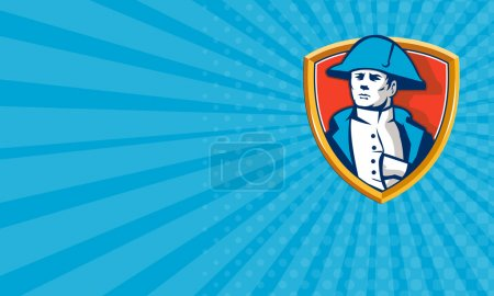 Photo for Business card showing illustration of French general commander Napoleon Bonaparte wearing bicorne bicorn hat twihorn hat with hand inside coat set inside shield crest done in retro style. - Royalty Free Image