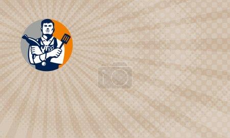 Photo pour Carte de visite affichant l'illustration d'un jack de tous les métiers retenant un sèche-cheveux et une spatule, avec le stéthoscope sur le cou et les ciseaux de fixation et de barbier dans le tablier faisant face au cercle intérieur sur le fond d'isolement fait dans le modèle rétro - image libre de droit