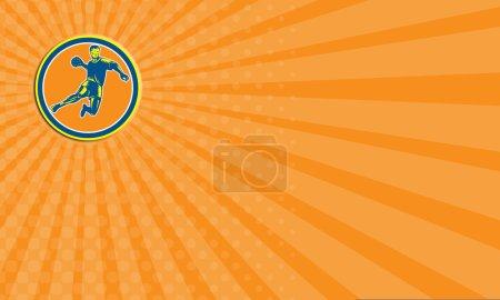 Business card Handball Player Jumping Throwing Ball Circle Woodcut