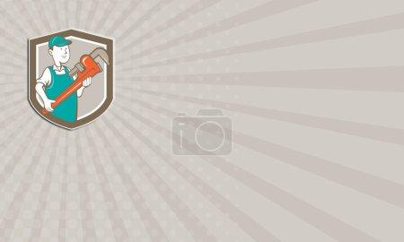 Business card Plumber Monkey Wrench Shield Cartoon