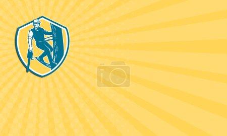 Photo pour Carte de visite montrant l'illustration du bûcheron élagage arbre chirurgien à la recherche avant avec harnais et pendaison de tronçonneuse escalade arbre poteau ensemble à l'intérieur de la crête de bouclier sur fond isolé fait dans un style rétro - image libre de droit