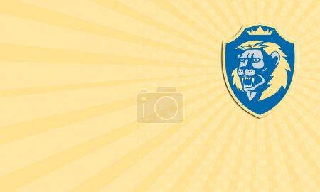 Foto de Business card showing illustration of an angry lion big cat head roaring facing front set inside shield crest on isolated background done in retro style. - Imagen libre de derechos