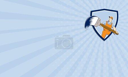 Photo pour Carte de visite montrant l'illustration d'un peintre de maison tenant un pinceau géant vu de l'avant fixé à l'intérieur écusson de bouclier sur fond isolé fait dans le style de dessin animé . - image libre de droit