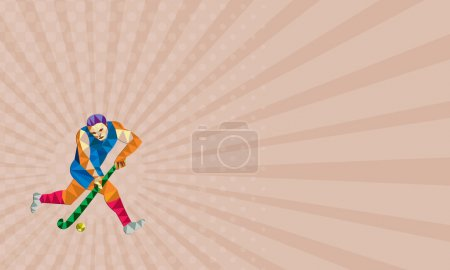 Business card Field Hockey Player Running With Stick Low Polygon