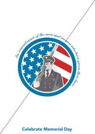Photo pour Carte de voeux de Memorial Day avec une illustration d'un militaire soldat américain saluant avec drapeau bannière étoilée de Usa en arrière-plan à l'intérieur du cercle fait dans un style rétro avec les mots, n'oubliez pas ceux d'entre nous qui a donné l'ultime sacrifié - image libre de droit