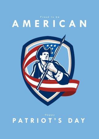 Patriots Day Greeting Card American Patriot Soldier Waving Flag Shield
