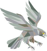 Peregrine Falcon Swooping Grey Low Polygon