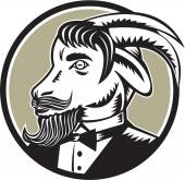 Goat Beard Tuxedo Circle Woodcut
