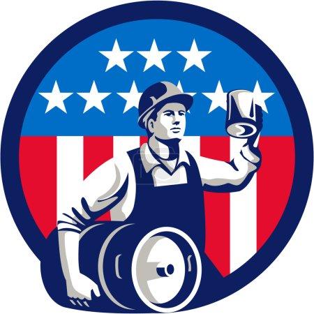 American Builder Beer Keg Flag Circle Retro
