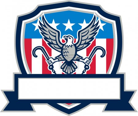 American Eagle Clutching Towing J Hook Shield Retro