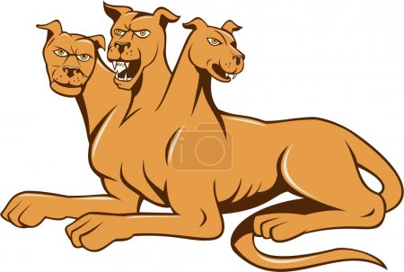 Illustration for Illustration of cerberus, in Greek and Roman mythology, a multi-headed usually three-headed dog, or hellhound with a serpent's tail, a mane of snakes lion's claws  sitting set inside on isolated white background done in cartoon style. - Royalty Free Image