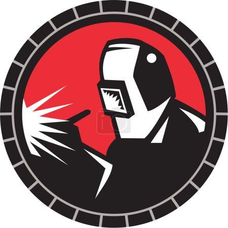 Illustration pour Illustration de soudeur travailleur arc avec soudage masque de soudage travail vu de l'avant mis à l'intérieur cercle sur fond isolé fait dans le style rétro . - image libre de droit