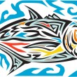 Tribal art style illustration of a giant trevally,...