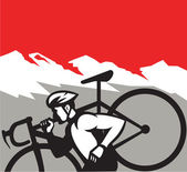 Cyclocross Athlete Running Carrying Bike Alps Retro