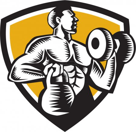 Athlete Lifting Kettlebell Dumbbell Crest Woodcut
