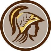 Minerva Head Helmet Circle Retro