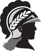 Minerva Head Side Silhouette Retro