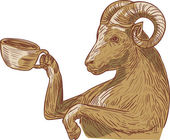 Ram Goat Drinking Coffee Drawing