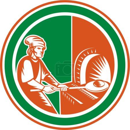Illustration pour Illustration d'une machine à pizza boulangère tenant une casserole avec de la pâte à pain mettant en feu ouvert four à bois mis à l'intérieur du cercle fait dans un style rétro . - image libre de droit