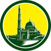 Putra Mosque Woodcut Retro