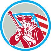 American Patriot Soldier Waving Flag Circle
