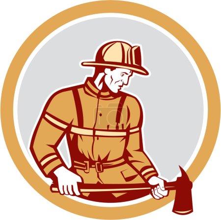 Illustration pour Illustration d'un pompier pompier urgentiste tenant une hache de pompier regardant vers le côté placé à l'intérieur du cercle sur fond isolé fait dans un style rétro . - image libre de droit