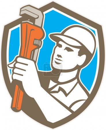 Illustration pour Illustration d'un plombier tenant une clé à singe regardant vers le côté fixé à l'intérieur de la crête du bouclier sur fond isolé fait dans un style rétro . - image libre de droit