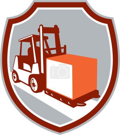 Illustration pour Illustration d'un chariot élévateur et d'un conducteur au travail soulevant une caisse de manutention placée à l'intérieur d'un cercle sur un fond isolé fait dans un style rétro . - image libre de droit