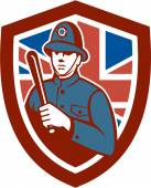 Illustration of a British London bobby police officer policeman man wielding truncheon or baton also called cosh billystick billy club nightstick sap stick set inside shield crest with Union Jack flag in background done in retro style