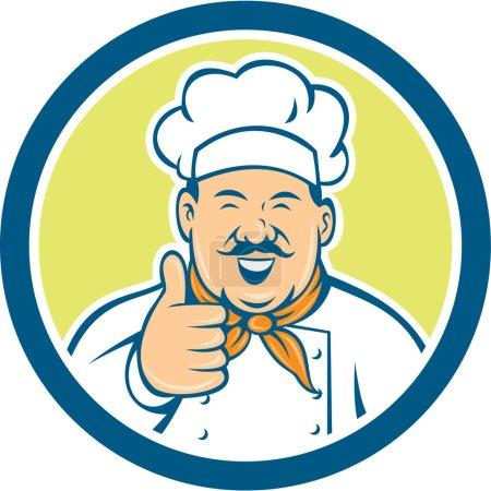 Illustration pour Illustration d'un chef cuisinier regardant sourire heureux avec les pouces mis en place à l'intérieur du cercle sur fond isolé fait dans un style rétro . - image libre de droit