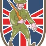 Постер, плакат: World War One Soldier British Marching Cartoon Shield