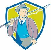 Vintage Fly rybář Bowler Hat štít kreslený
