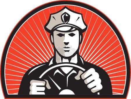 Illustration pour Illustration d'un policier policier conducteur volant ensemble à l'intérieur d'un demi-cercle fait dans un style rétro . - image libre de droit