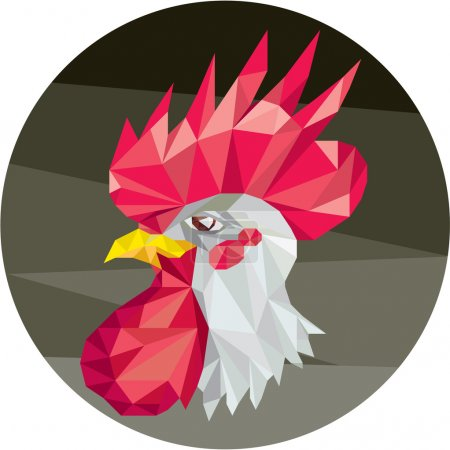 Chicken Rooster Head Side Low Polygon