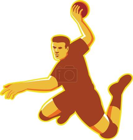 handball player jumping striking retro