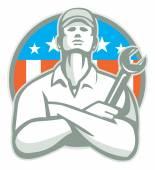Mechanic Arms Crossed Wrench USA Flag Retro